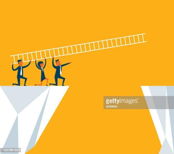 はしごを使用してビジネス チーム - ゴールネット点のイラスト素材/クリップアート素材/マンガ素材/アイコン素材