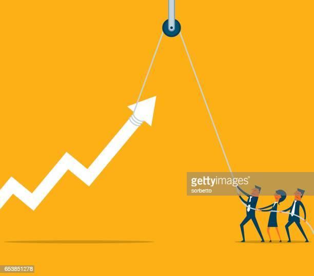 business team with hoist up arrow
