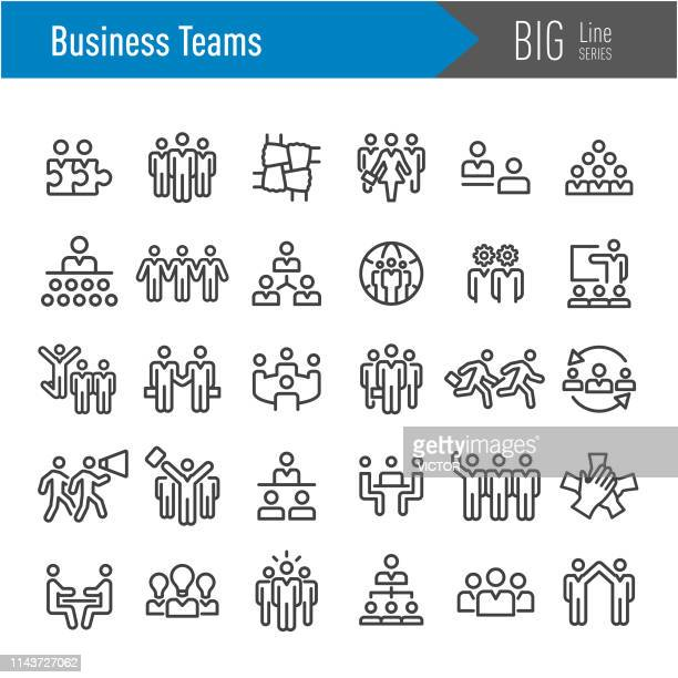 business teams icons - big line series - participant stock illustrations