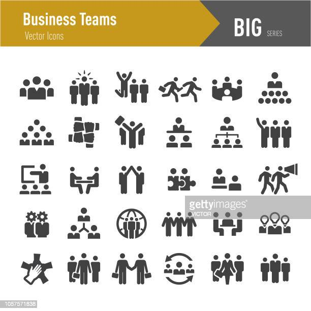 business teams icons - big series - participant stock illustrations