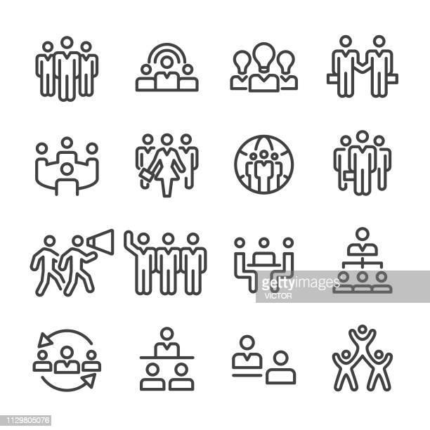 business teams icons set - line series - female likeness stock illustrations
