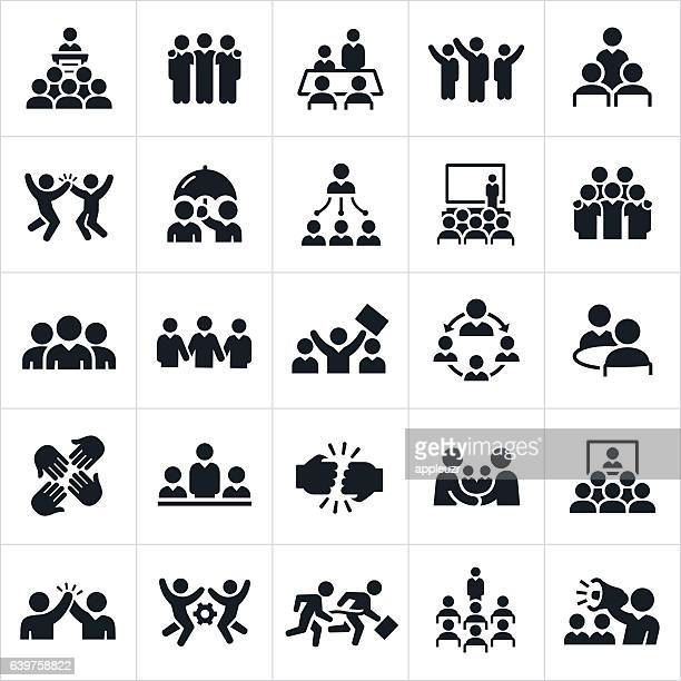 business teams icons - attending stock illustrations