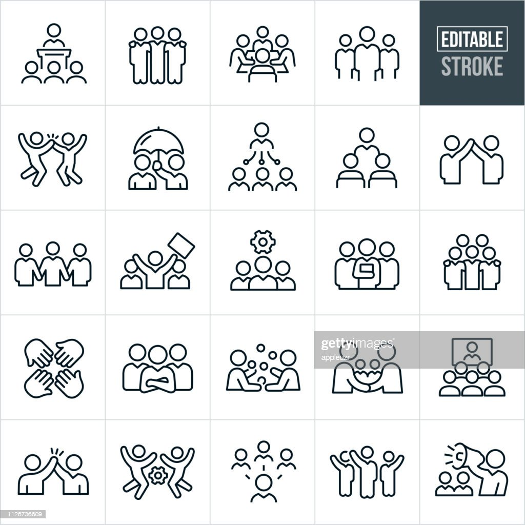 Business Teams Thin Line Icons - Editable Stroke : Stock Illustration
