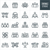 Business Teams Thin Line Icons - Editable Stroke