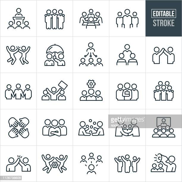 illustrazioni stock, clip art, cartoni animati e icone di tendenza di business teams thin line icons - editable stroke - presentazione discorso