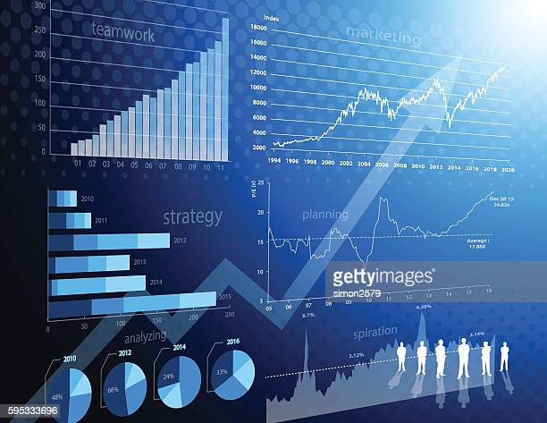 Business teamwork and Financial graph background
