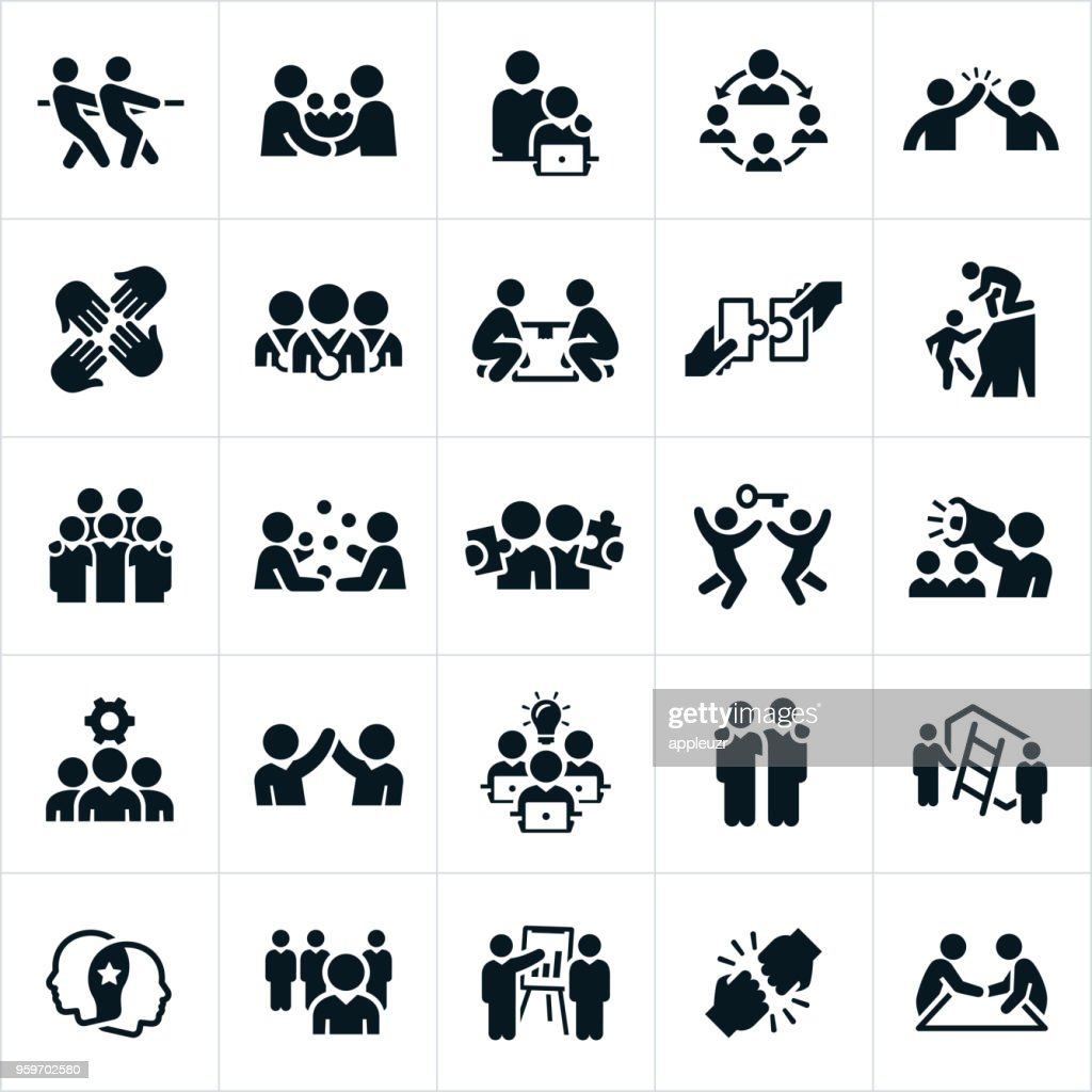 Business Teamwork and Partnership Icons