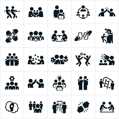 Business Teamwork and Partnership Icons - gettyimageskorea