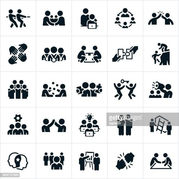 business teamwork and partnership icons - teamwork stock illustrations
