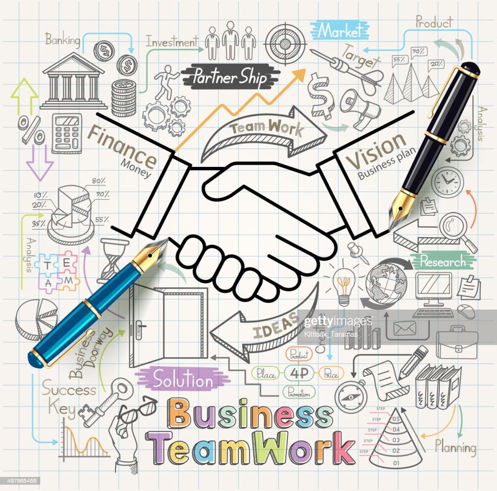 Business teamwork concept doodles icons set.
