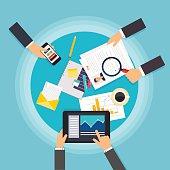 Business teamwork. Creative team desktop top view with tablets,