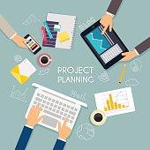 Business teamwork. Flat banner of business strategy. Creative te