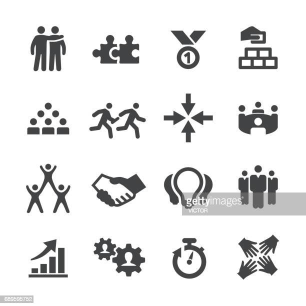 business teamwork icons - acme series - bloco stock illustrations