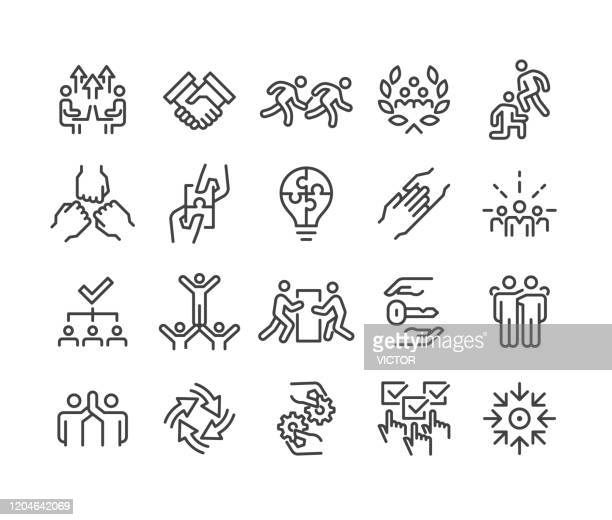 business teamwork icons - classic line series - undone stock illustrations