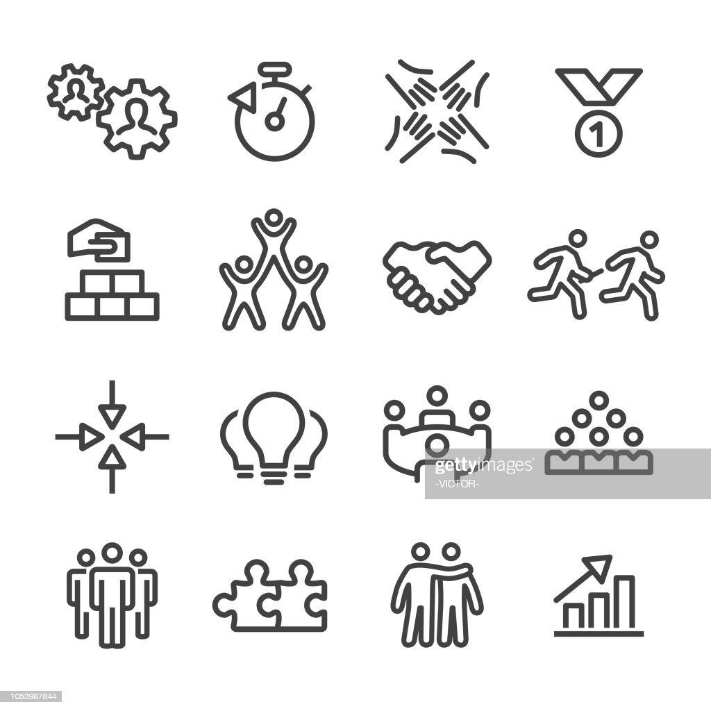 Ícones de trabalho em equipe de negócios - linha série : Ilustração