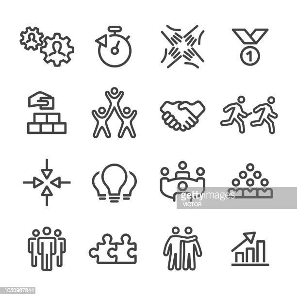 business teamwork icons - line series - bloco stock illustrations