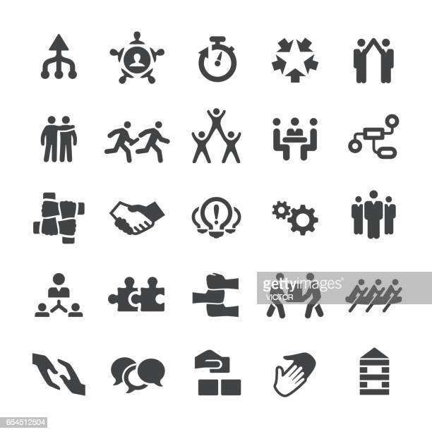 business teamwork icons - smart series - holding hands stock illustrations