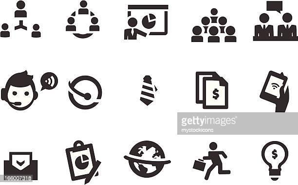 Iconos de negocios, trabajo en equipo
