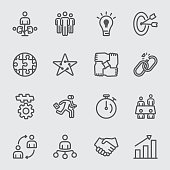 Business teamwork line icon