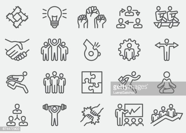 business teamwork line icons | eps 10 - teamwork stock illustrations