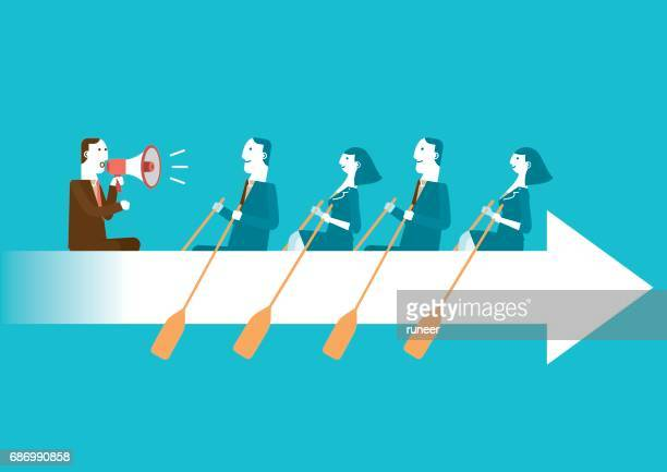 business teamwork on rowing arrow | new business concept - sports team stock illustrations, clip art, cartoons, & icons