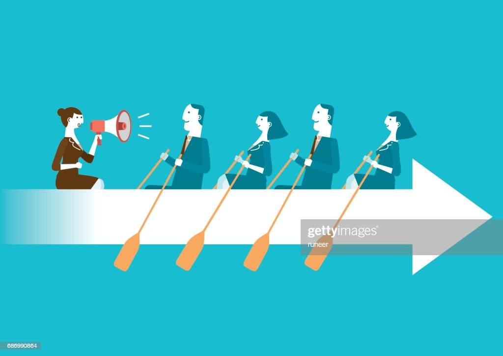 Business Teamwork on Rowing Arrow | New Business Concept : stock vector