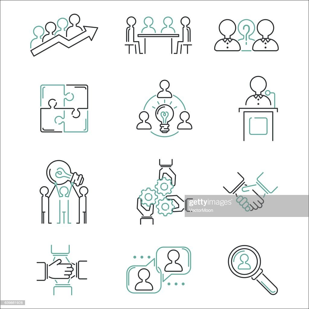 Business teamwork outline icons vector.