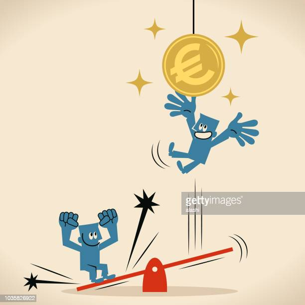 business teamwork seesaw jumping and catching the euro currency coin - high jump stock illustrations