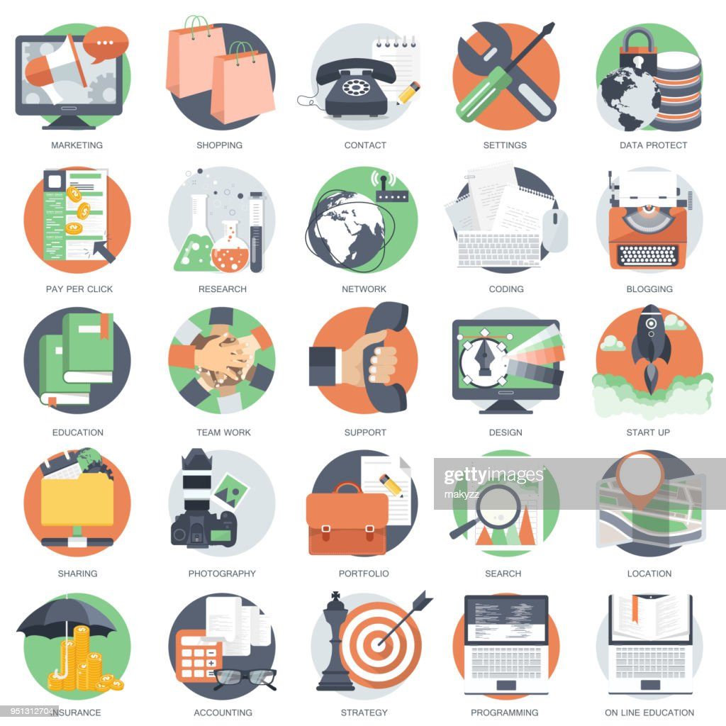 Business, technology and finances icon set for websites and mobile applications and services. Flat vector illustration