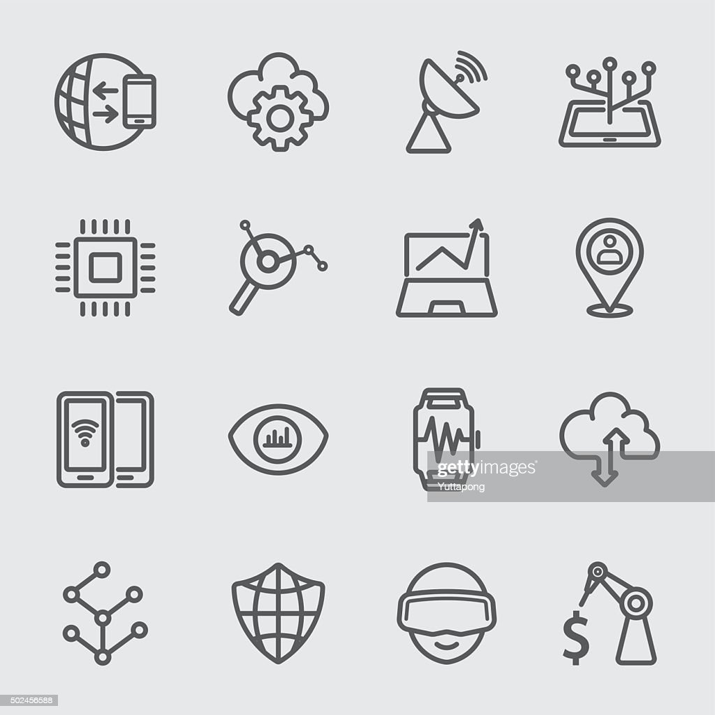 Business technology line icon