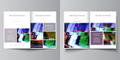 Business templates for bi fold brochure, flyer. Cover design template, abstract vector layout in A4 size. Glitched background, colorful pixel mosaic. Digital decay, signal error, television fail