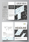 Business templates for bi fold brochure, magazine, flyer. Cover template, abstract layout in A4 size. Soft color dots with illusion of depth and perspective, dotted background. Elegant vector design