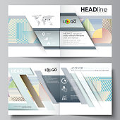 Business templates for bi fold square brochure, magazine, flyer, booklet, report. Leaflet cover, abstract vector layout. Minimalistic design with lines, geometric shapes forming beautiful background