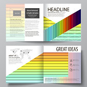 Business templates for square bi fold brochure, flyer, report. Leaflet cover, vector layout. Bright color rectangles, colorful design, geometric rectangular shapes, abstract beautiful background
