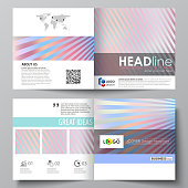 Business templates for square bi fold brochure, magazine, flyer, booklet, report. Leaflet cover, abstract vector layout. Sweet pink and blue decoration, pretty romantic design, cute candy background