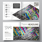 Business templates for square design bi fold brochure, flyer, booklet, report. Leaflet cover, vector layout. Colorful background made of stripes. Abstract tubes and dots. Glowing multicolored texture