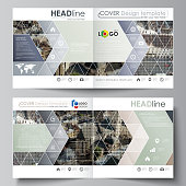 Business templates for square design bi fold brochure, flyer, booklet, report. Leaflet cover, abstract vector layout. Colorful background made of dotted texture for travel business, urban cityscape