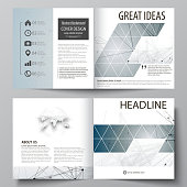 Business templates for square design bi fold brochure, flyer, booklet, report. Leaflet cover, vector layout. DNA and neurons molecule structure. Medicine, science, technology concept. Scalable graphic