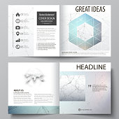 Business templates for square design bi fold brochure, flyer, report. Leaflet cover, vector layout. Compounds lines and dots. Big data visualization in minimal style. Graphic communication background