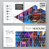 Business templates for square design bi fold brochure, magazine, flyer. Leaflet cover, abstract vector layout. Glitched background made of colorful pixel mosaic. Digital decay. Trendy glitch backdrop