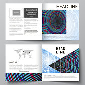 Business templates for square design bi fold brochure, magazine, flyer, booklet or report. Leaflet cover, abstract vector layout. Blue color background in minimalist style made from colorful circles