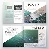 Business templates for square design bi fold brochure, magazine, flyer, booklet. Leaflet cover, vector layout. Chemistry pattern, hexagonal molecule structure. Medicine, science, technology concept