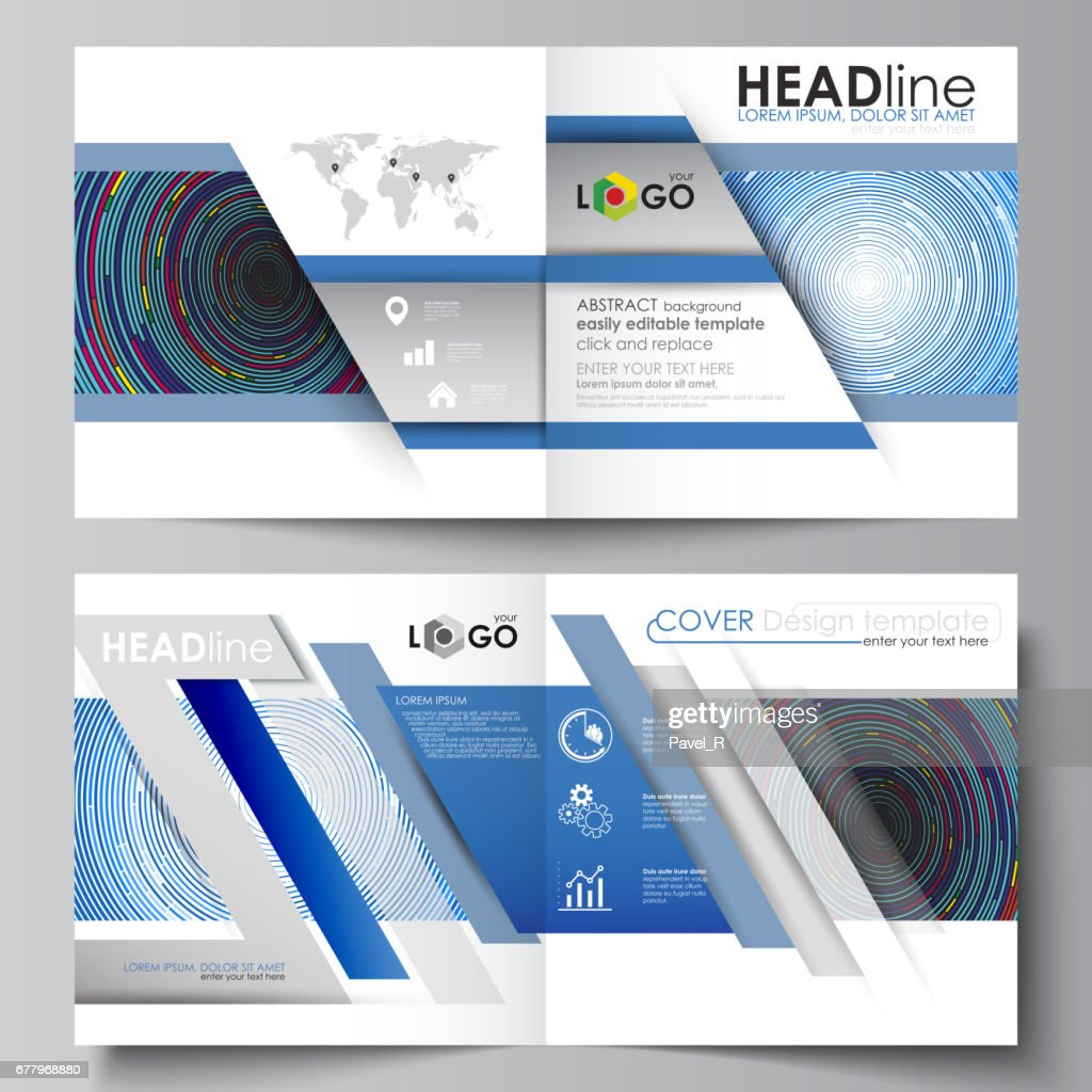Business Templates For Square Design Bi Fold Brochure Magazine Flyer