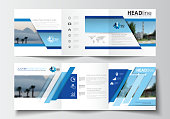 Business templates for tri-fold brochures, square design, annual report