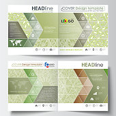 Business templates, square design bi fold brochure, flyer. Leaflet cover, flat layout. Green color background with leaves. Spa concept in linear style. Vector decoration for cosmetics industry
