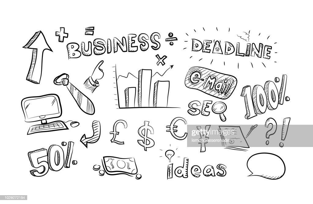 Business theme symbols and icons cartoon doodle theme set