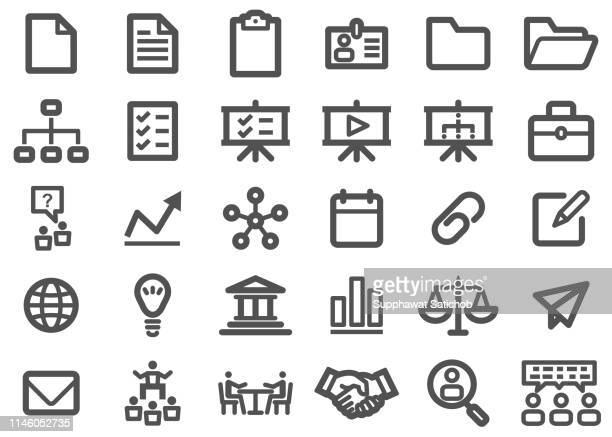 business thick line icons - thick stock illustrations