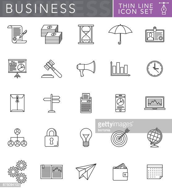 business thin line icon set in flat design style - accounting ledger stock illustrations, clip art, cartoons, & icons