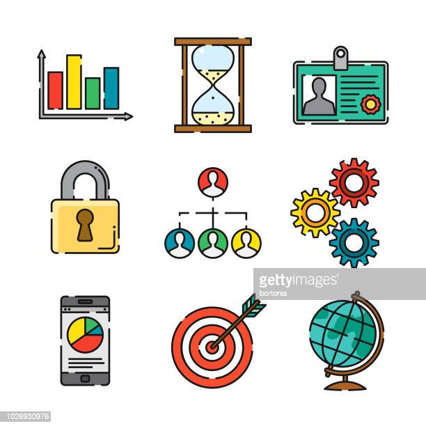 ilustraciones, imágenes clip art, dibujos animados e iconos de stock de conjunto de iconos de negocios delgada línea - blanco color