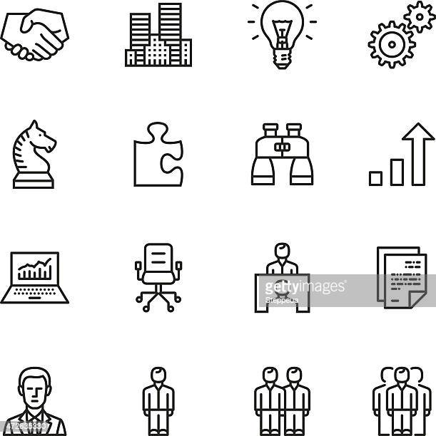 business thin line icons - job interview stock illustrations, clip art, cartoons, & icons